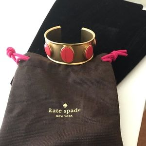 """Kate spade Gold Cuff Bangle with Pink stone 7"""""""